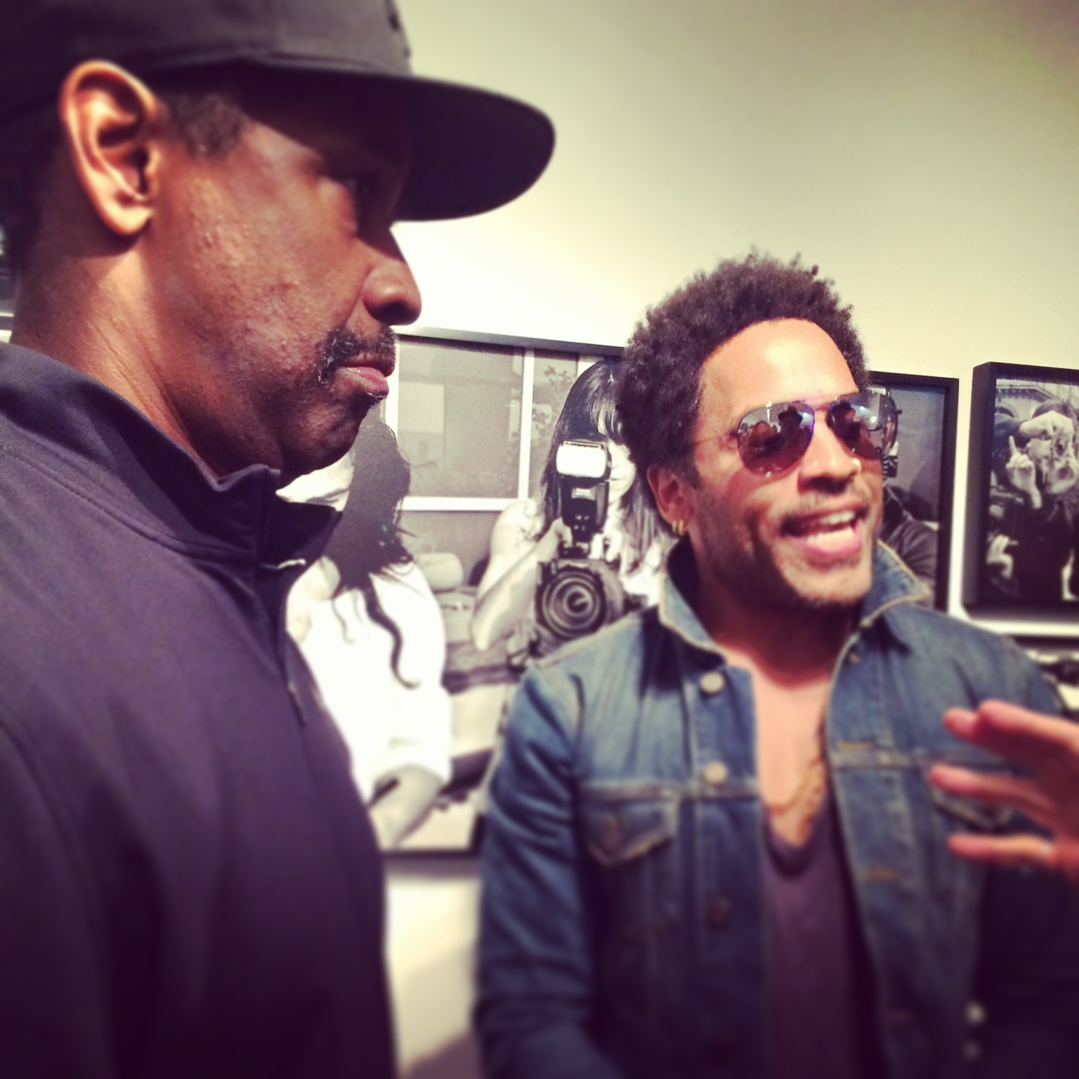 Denzel Washington and Lenny Kravitz during opening night of FLASH