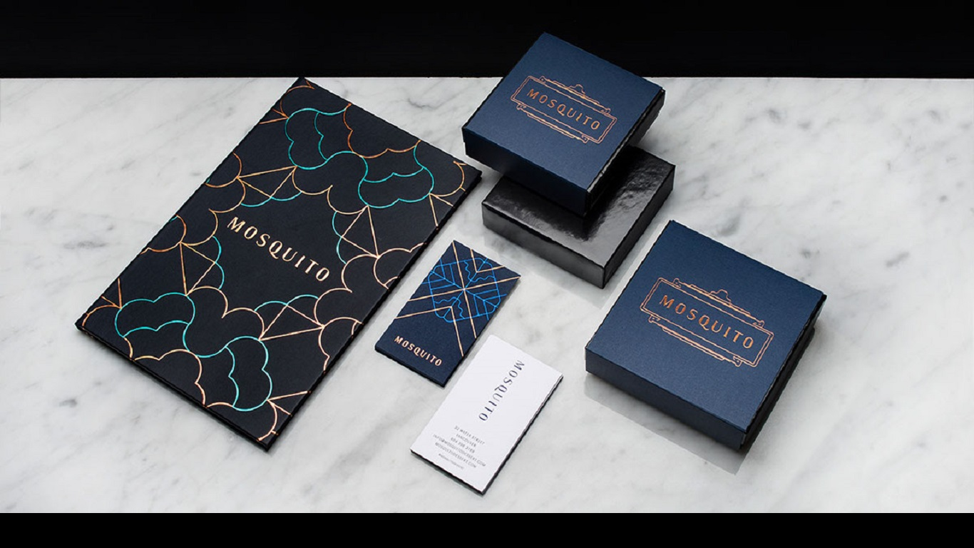 mosquito dessert bar branding business cards