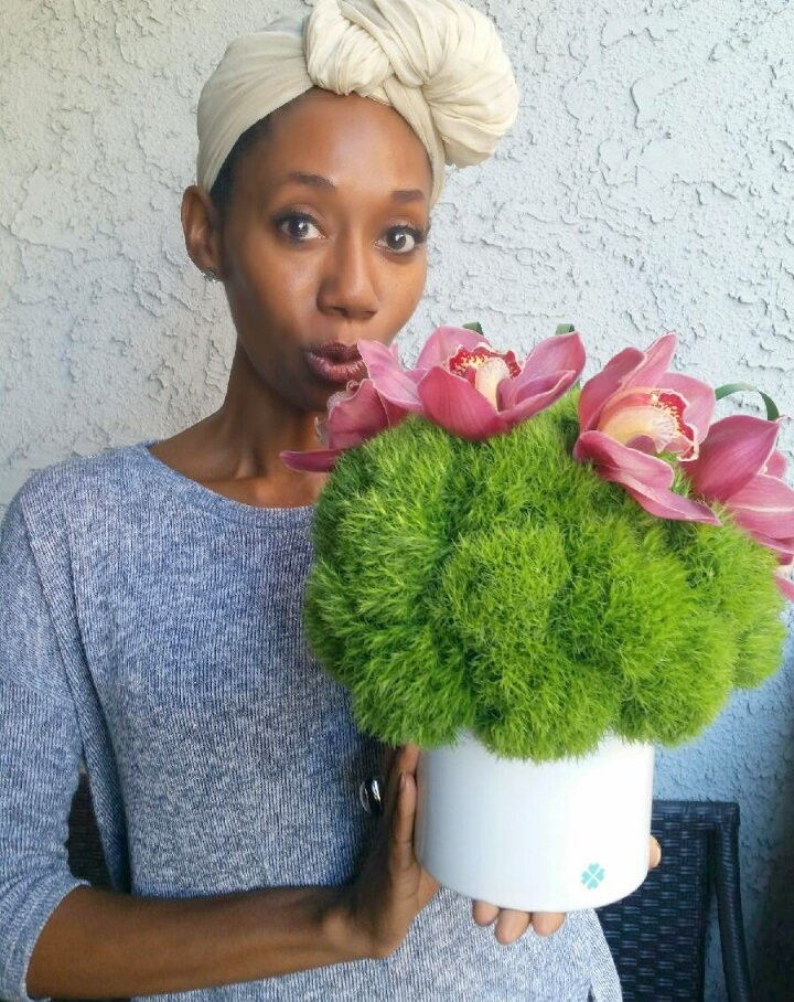 Joy with the Olyve + Tasha bouquet.