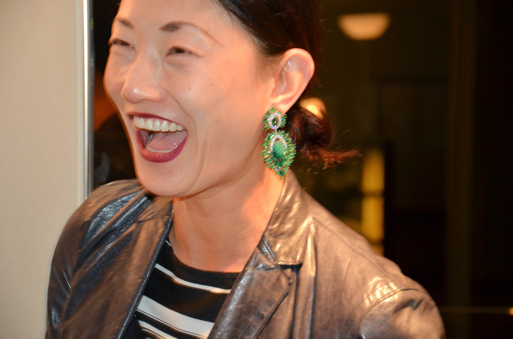 TV producer Seon Park looking gorgeous in a pair of emerald green Ammanii earrings. Photo by Lisa Donahue.