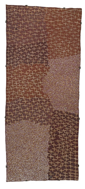 Ganyu (Stars), 2003, Gulumbu Yunupingu (Natural earth pigments on eucalyptus bark)