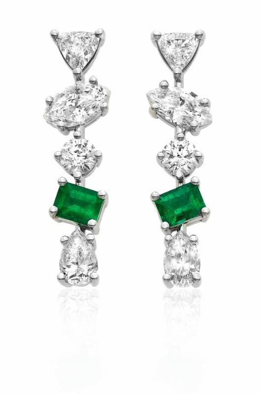 Kimberly McDonald Gemfields Signature Irregular Diamond Bar Studs with Ethically Sourced Zambian Emerald set in 18K White Gold. Price upon request.