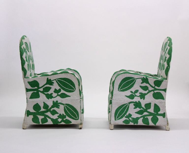 nigerian beaded nobility chair green white sideview