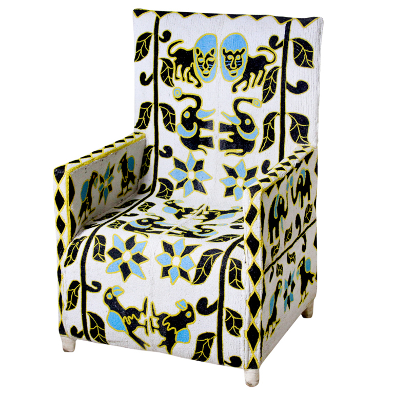 nigerian beaded nobility chair skyblue black white front