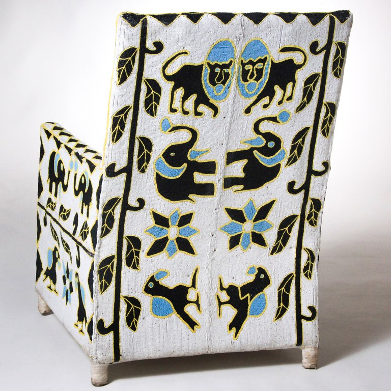 nigerian beaded nobility chair skyblue black white