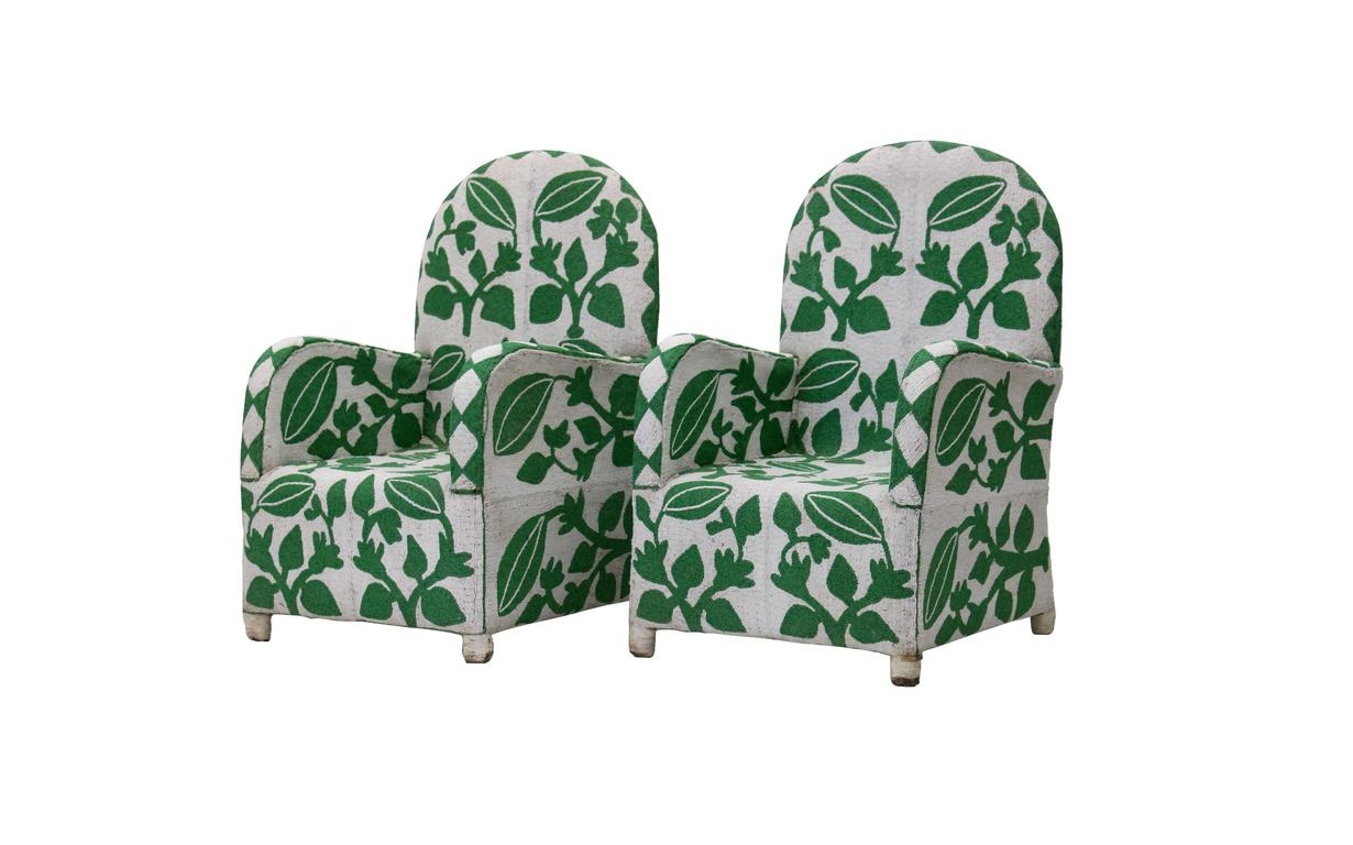 yoruba beaded nobility chairs green white king