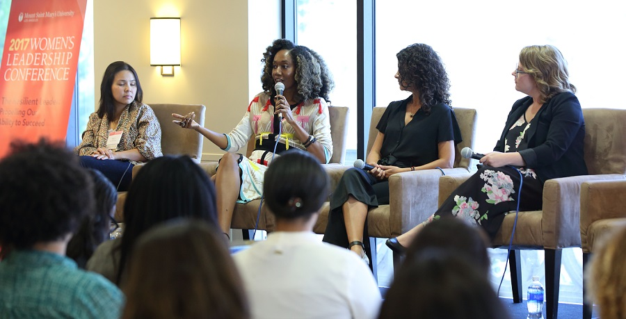 Ann Le, Joy Donnell, Ana Flores and Maggie Chieffo speaking during the Image in the Age of Instagram panel.